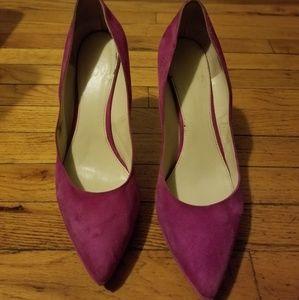 Hot pink velvet felt shoes size 12m
